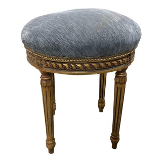 Vintage French Round Blue Velvet Small Bench For Sale