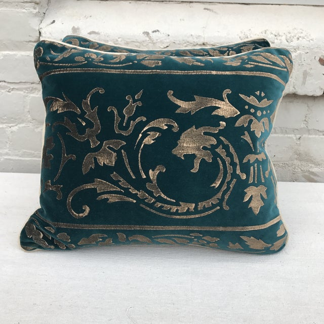 Gold Stenciled Velvet Pillows - A Pair - Image 3 of 7