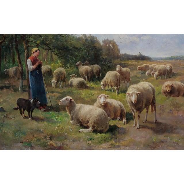 Late 19th Century Cornelius Van Leemputten-Flock of Sheeps-Beautiful 19th C. Oil Painting For Sale - Image 5 of 10