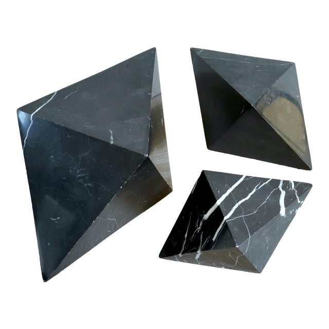 Geometric Octahedron Marble Sculptures - Set of 3 For Sale