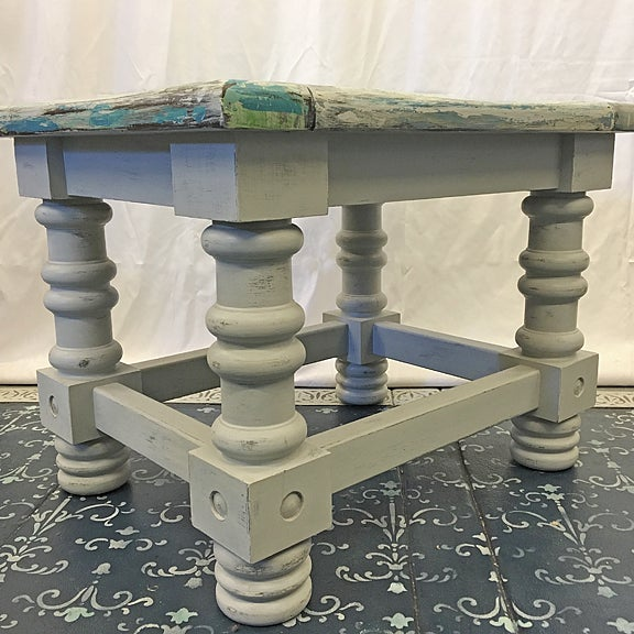 Rustic Coastal Solid Wood Side Table For Sale - Image 4 of 6