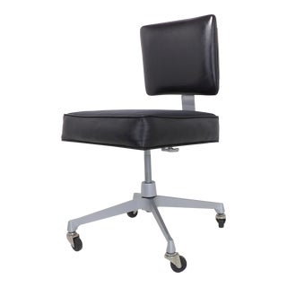 Frank Doerner Mid-Century Modern Black Vinyl Office Chair For Sale
