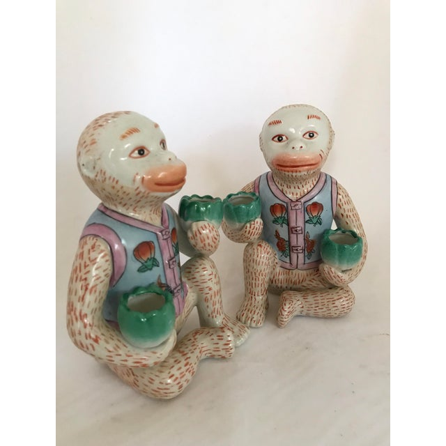 Ceramic Vintage Chinese Ceramic Monkey Gardener Seated - a Pair For Sale - Image 7 of 11