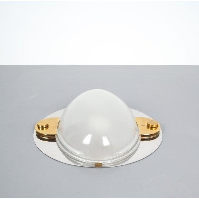 Azucena Luigi Caccia Dominioni Flush Mounts or Sconces Brass Chrome Glass, Circa 1978 For Sale - Image 4 of 13
