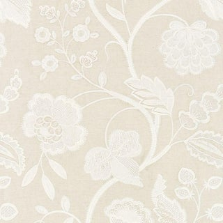 Scalamandre Kensington Emrboidery Fabric in Flax For Sale
