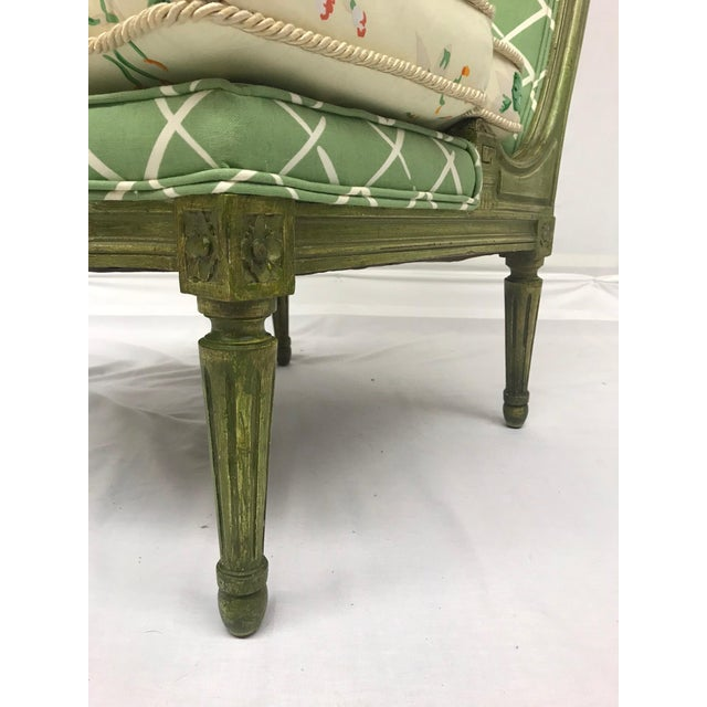French Style Green-Painted Slipper Chairs - A Pair For Sale - Image 11 of 13