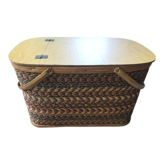 Vintage Mid Century Woven Picnic Basket For Sale
