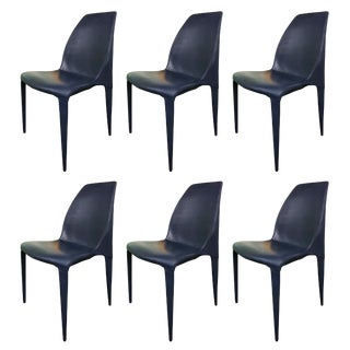 Set of 6 Dark Blue Leather Chairs by Cattelan Italia For Sale