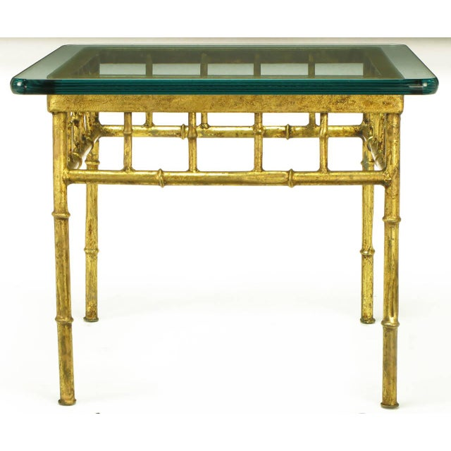 Pair of Glazed Gilt Metal Faux Bamboo End Tables - Image 3 of 5