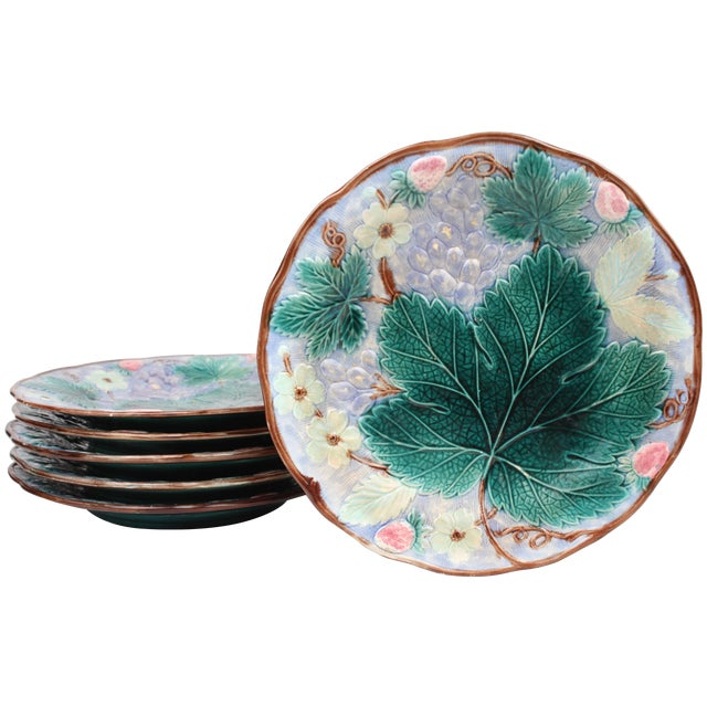 19th Century Majolica Dessert Plates - Set of 6 - Image 1 of 4