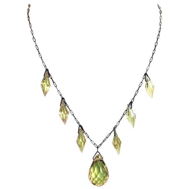 Circa 1920s Czechoslovakian Yellow Faceted Drop Necklace For Sale