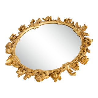 Vintage Giltwood Framed Bevelled Hanging Mirror For Sale