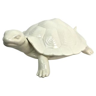 Hand-Cast Ceramic Turtle Bowl With Shell Lid