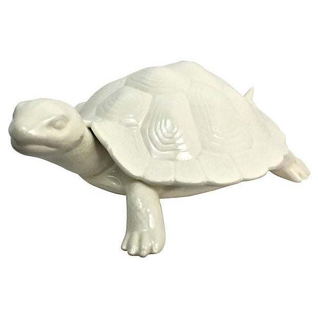 Hand-Cast Ceramic Turtle Bowl With Shell Lid - Image 1 of 9