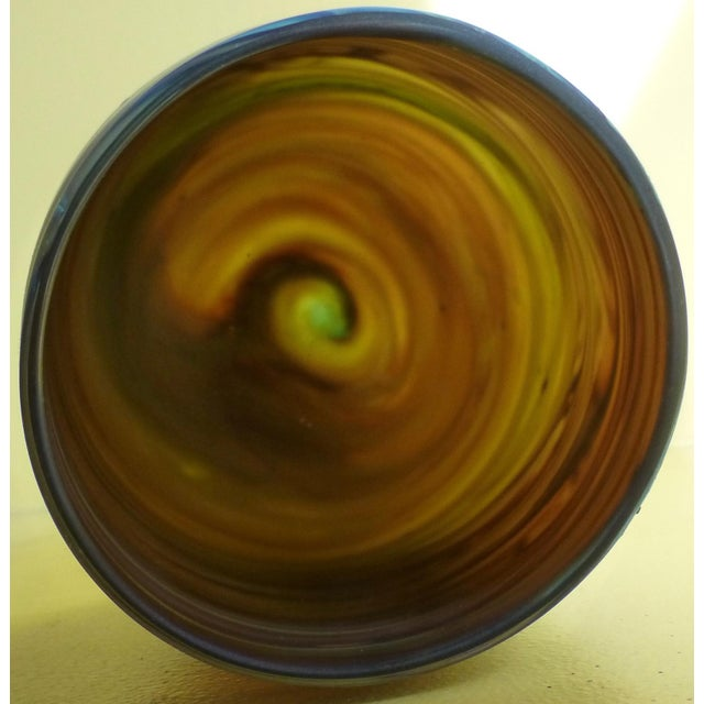 Blue Mid Century Studio Art Glass Vase For Sale - Image 8 of 13