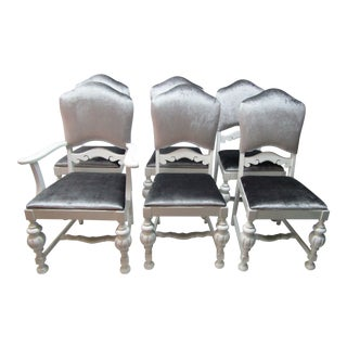 1950s Art Nouveau Silver and White Dining Chairs - Set of 6 For Sale