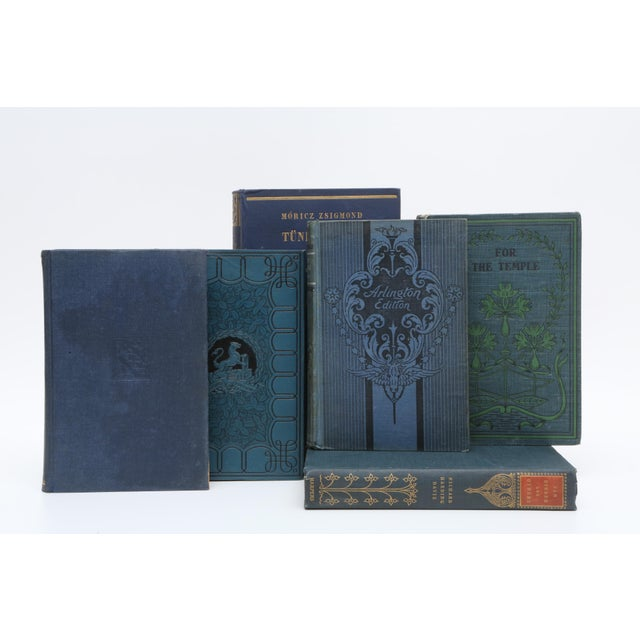 Mid-Century Modern Mid Century Blue Navy and Forest Green - Set of 20 Decorative Books For Sale - Image 3 of 5