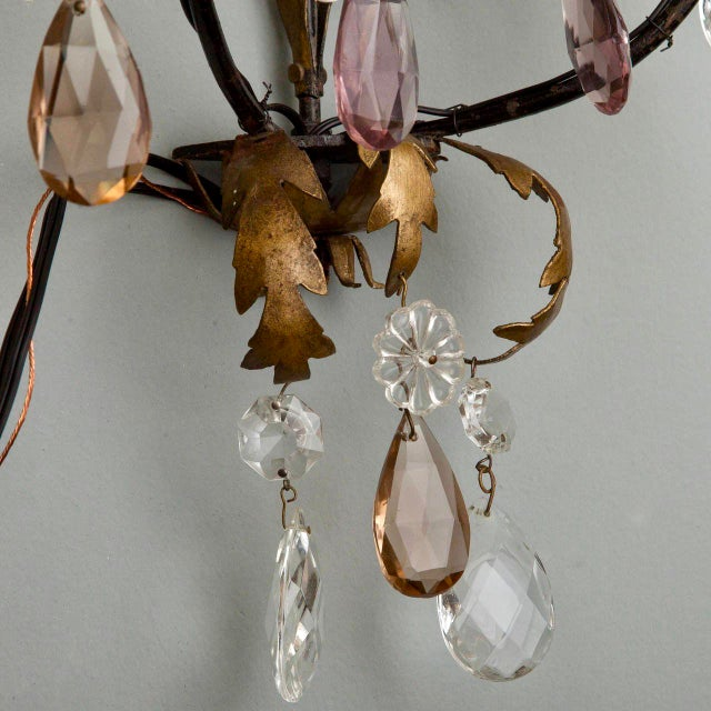 Italian Two-Light Tole & Crystal Sconces - A Pair - Image 9 of 9