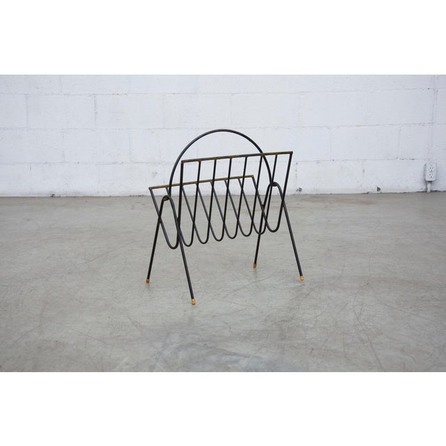 Carl Aubock Style Black Wire Magazine Rack - Image 4 of 9
