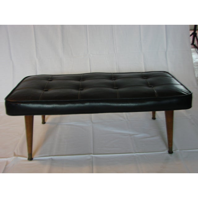 Black Tufted Leather Bench - Image 5 of 5