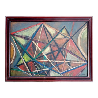 Mid 20th Century French Abstract Cubist Oil Painting, Framed For Sale