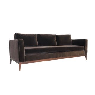 Mid Century Modern Walnut Based Velvet Sofa in the Manner of Milo Baughman