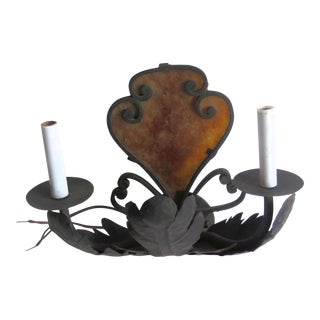 1950s Hollywood Regency Wrought Iron Sconce For Sale
