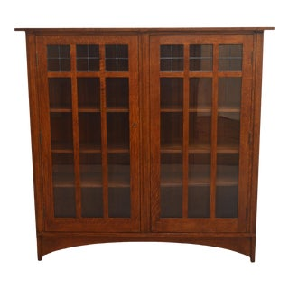 Stickley Oak Mission Two Door Bookcase For Sale