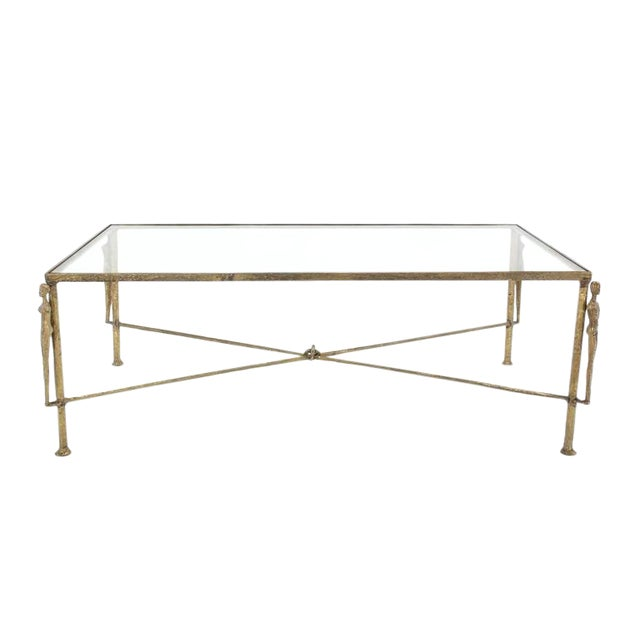 Large Rectangle Solid Bronze Figural Base Glass-Top Coffee Table For Sale