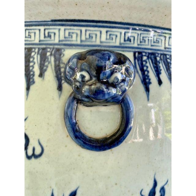 1950s Large Vintage Blue & White Dragons Asian Fish Bowl Planter Pot For Sale - Image 5 of 12