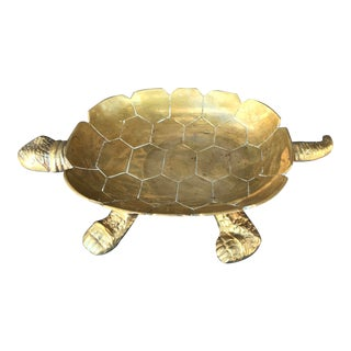 Large Vintage Solid Brass Turtle Catchall Tray Trinket Dish For Sale