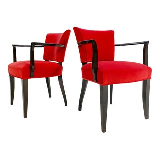 Eugene Printz Armchairs in Loro Piana Velvet, Pair For Sale