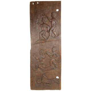 African Wooden Granary Door With Carved Motifs For Sale