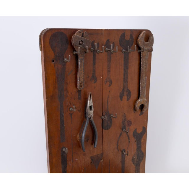 Early 20th Century Handmade Industrial Wall or Counter Storage Display for Tools For Sale - Image 5 of 7