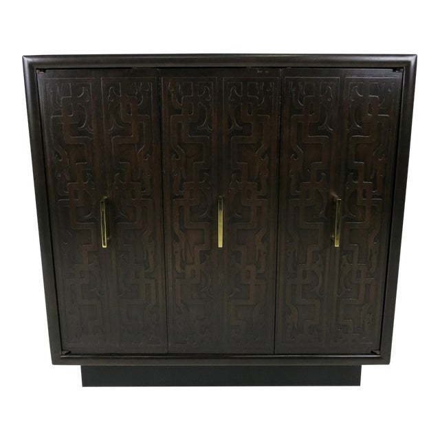 Pair of Exotic Embossed Front Cabinets by John Widdicomb For Sale