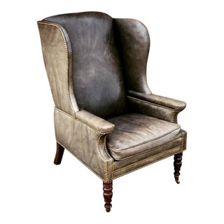 Leathercraft Top Grain Leather Wingback Chair For Sale