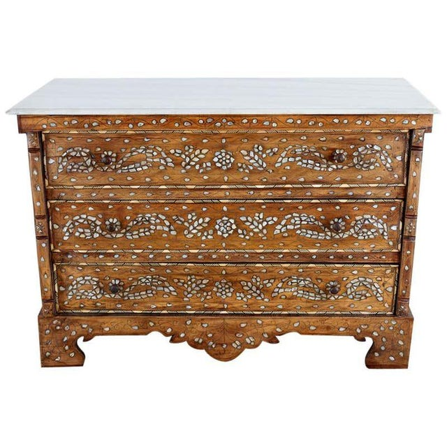 Moorish Pearl Inlay Carved Wedding Chest of Drawers For Sale - Image 13 of 13