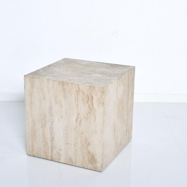 Contemporary Mid-Century Modern Travertine Cube Side Table For Sale - Image 3 of 9