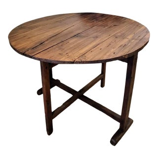 19th Century Rustic French Wine Tasting Tilt-Top Vendage Table For Sale