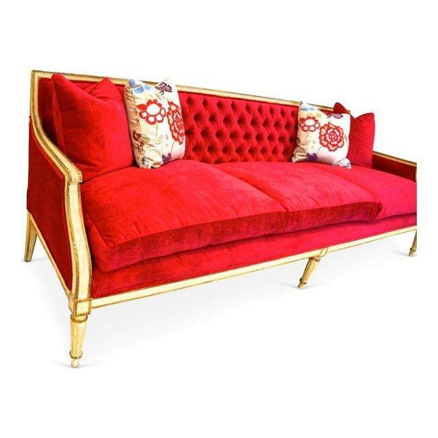 Vintage 1940s Fuchsia Regency Sofa - Image 5 of 6