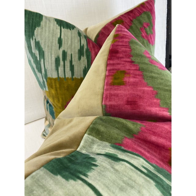 """Boho Chic Pierre Frey """"Bella Coola"""" Acid/Lime 22"""" Pillows-A Pair For Sale - Image 3 of 7"""
