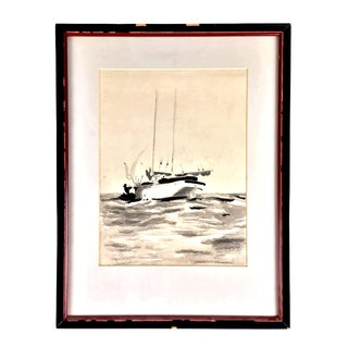 Vintage Watercolor Painting of a Ketch Sailboat For Sale