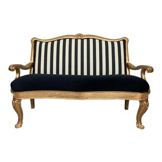 Vintage Striped Upholstery Clawfoot Settee For Sale