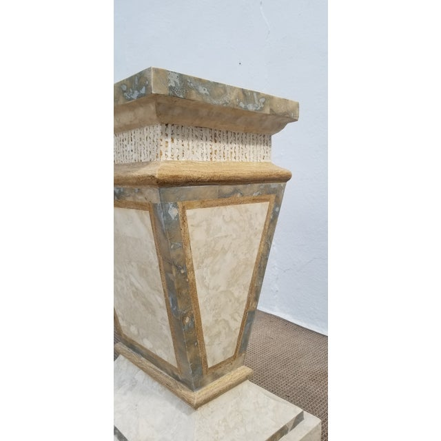 1980s Vintage Maitland Smith Tessellated Stone Pedestal For Sale - Image 4 of 9