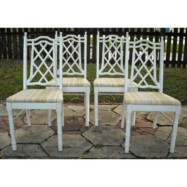 Vintage Faux Bamboo Dining Chairs - Set of 4 - Image 2 of 9