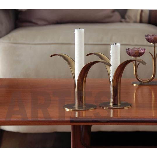 Mid Century Swedish Brass Candlesticks - a Pair For Sale - Image 6 of 7