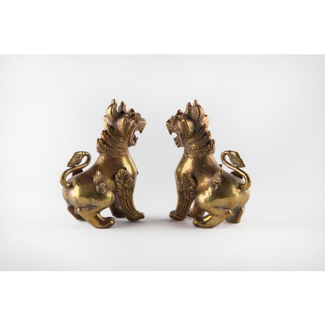 Solid Brass Thai Foo Dogs For Sale - Image 4 of 9