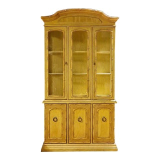 Vintage Yellow Faux Bamboo China Cabinet For Sale