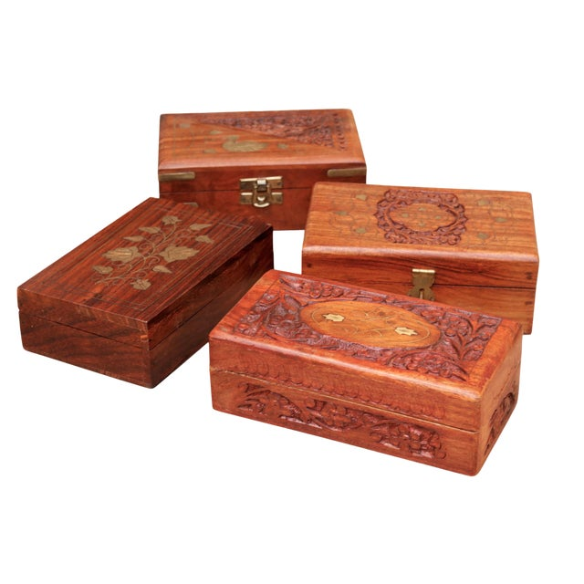 Carved Trinket Boxes With Brass Inlay, Set of 4 For Sale