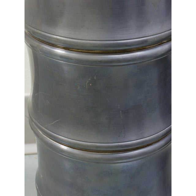 Chinoiserie 1950s Pewter Bamboo Chinoiserie Urns - a Pair For Sale - Image 3 of 8